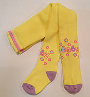 Теплые колготки для малышей с рисунком желтого цвета