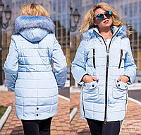 Зимнее женское пальто с мехом, от 46 до 52 р-ра