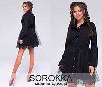 Женское модное платье  стрейч бенгалин+ евросетка+ дорогое кружево