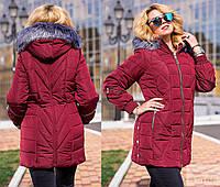 Зимнее женское пальто с мехом, от 52 до 62 р-ра