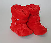 Детские махровые  тёплые  домашние сапожки  красного цвета
