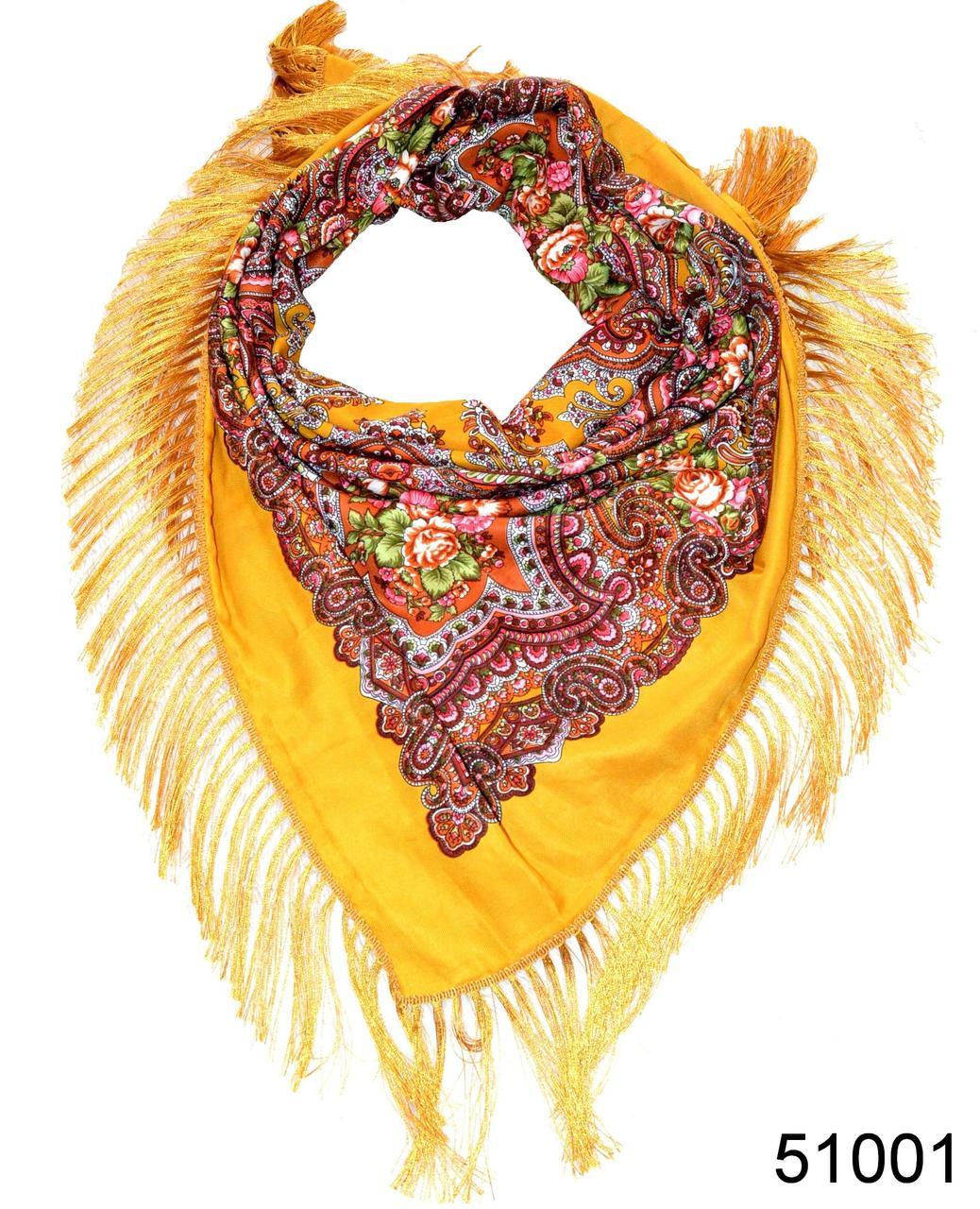 Павлопосадский шерстяной платок янтарный