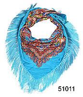 Павлопосадский шерстяной платок бирюзовый