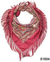 Павлопосадский шерстяной платок бордовый, фото 1