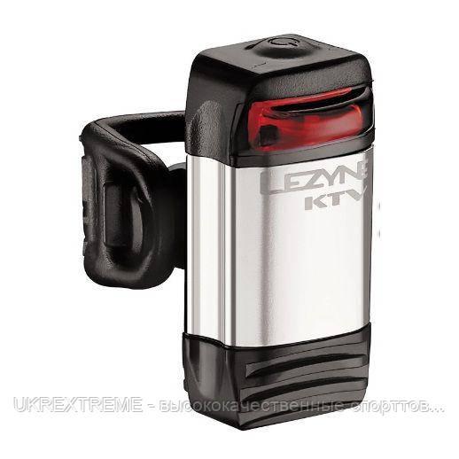 Фонарик LEZYNE LED KTV DRIVE REAR, 1 режим свечения, 4 режим мигания, резиновый крепеж, серебристый (ОРИГИНАЛ)