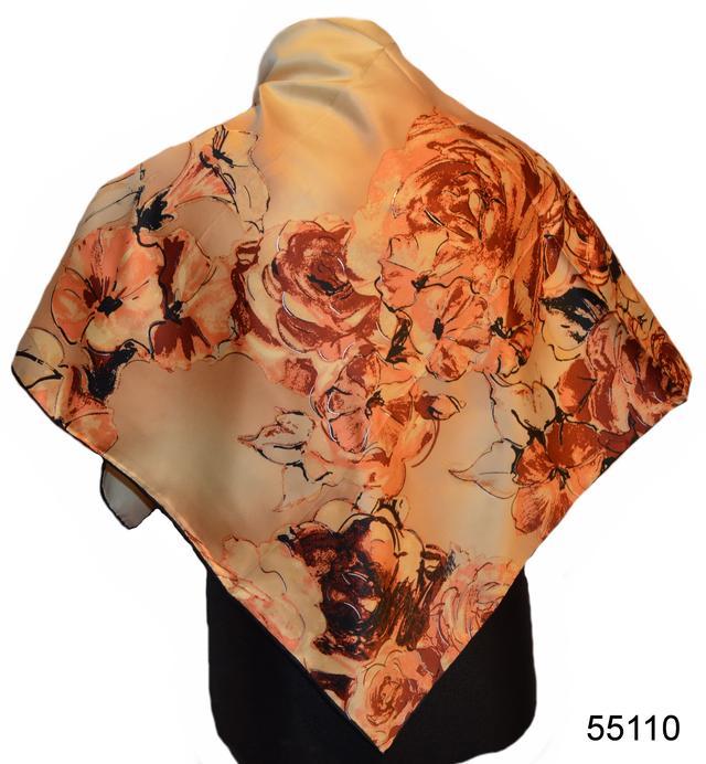 Шелковый коричневый атласный платок 1