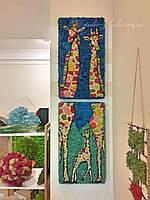 """Картина модульная из стабилизированного мха """" Жирафы"""""""