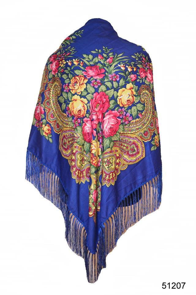Платок с народным орнаментом синий 140*140 1