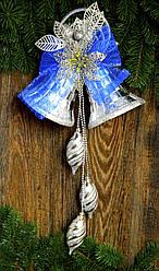 Колокол новогодний  очень большой серебро  0288