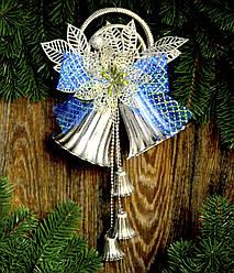 Колокол новогодний очень большой синий 0287