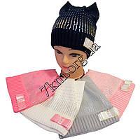 Шапка детская вязка +флис для девочек Оптом 7133