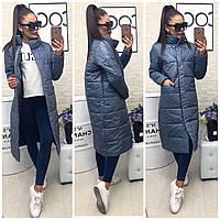 Стильное женское пальто синие зимнее (2 цвета) ВШ/-978