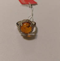 Кольцо серебряное с натуральным янтарем Моника