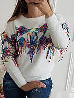 Яркий женский свитер (машинная вязка, декор цветная нить, длинные рукава, круглая горловина) РАЗНЫЕ ЦВЕТА!