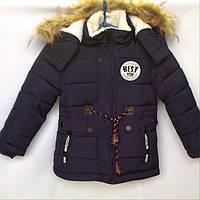 Детские куртки парки для мальчиков 3-7 лет темно -синяя