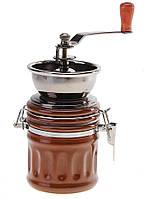 Кофемолка ручная, цвет коричневый  16х8 см