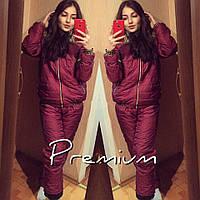 Женский лыжный костюм Двойка с мехом бордовый+