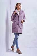 Шикарное зимнее пальто прямого фасона с накладными карманами