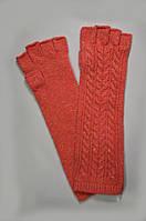Стильные перчатки (митенки) женские, удлинённые, шерстяные, тёплые