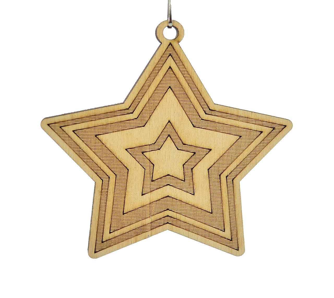 Деревянная новогодняя игрушка заготовка. Звезда с гравировкой