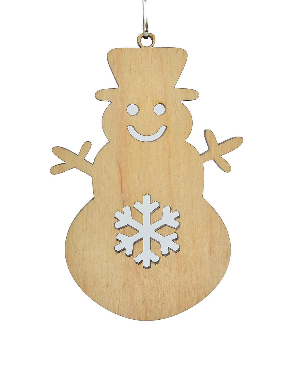 Деревянная новогодняя игрушка заготовка. Снеговик