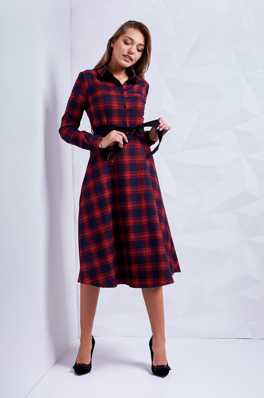 3b85f9cd90a53 Стильное молодежное платье длина миди в сине-красную клетку -  Оптово-розничный магазин одежды