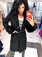 Женское кашемировое пальто с меховыми манжетами.  Арт - 18061
