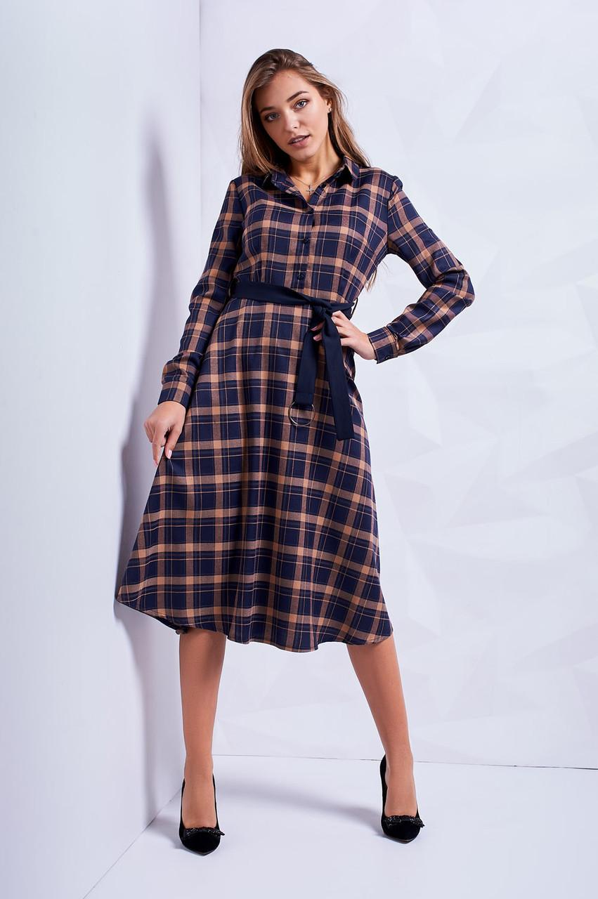 b7540a0fe75 Повседневное осенне платье в клетку с расклешенной юбкой - Оптово-розничный  магазин одежды