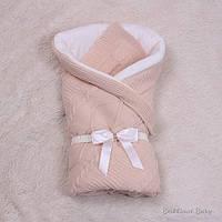 Зимний вязанный конверт-одеяло на выписку Эвет