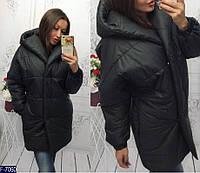 Черное стеганое пальто с поясом до колен.  Арт - 18063