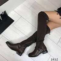 Женские стильные ботфорты темно коричневые АВ-1612