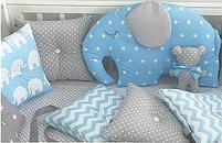 Бортики в ліжечко - 4 сторони зі слоником, фото 2