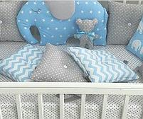 Бортики в ліжечко - 4 сторони зі слоником, фото 3