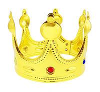 Карнавальная Пиковая Корона Короля Детская Пластиковая Корона с Напылением и Имитацией Драгоценных Камней