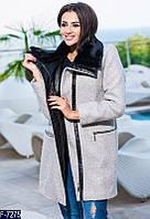 Женское пальто букле на молнии с кожаным воротником серого цвета.  Арт - 18066
