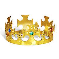 Карнавальная Крестовая Корона Короля Детская Пластиковая Корона с Напылением и Имитацией Драгоценных Камней