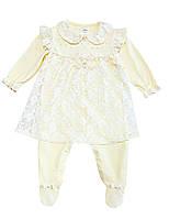 Нарядный комплект для девочки,р.-74 см,9 мес, цвет кремовый