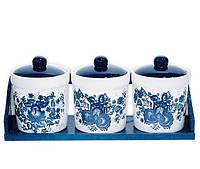 Набор маленьких прямых банок Синий Цветок для сыпучих продуктов на деревянной подставке