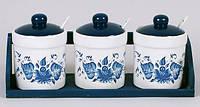 Набор прямых банок Синий Цветок для сыпучих продуктов с ложечками на деревянной подставке