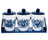 Набор банок Синий Цветок для сыпучих продуктов на деревянной подставке