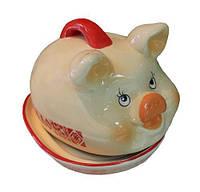 Блюдо для сала Веселая свинка 21см Сальница