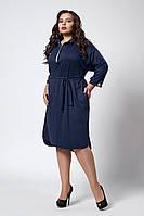 Стильное женское платье-рубашка с поясом темно-синего цвета