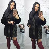 Женскаяискусственная норковая шуба Махагон 90 см длиной g-719014