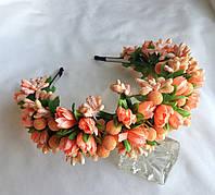 """Обруч для волос с цветами ручная работа """"Персиковые тюльпаны"""""""