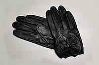 Перчатки женские кожаные, укороченные с бантиком (осенние, весенние)