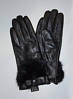 Перчатки женские, кожаные, утеплённые, с мехом кролика, внутри на плюше