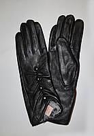 Кожаные перчатки женские, удлинённые, утеплённые мехом кролика