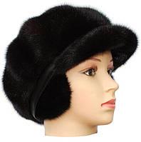 """Зимняя женская кепка из норки модель """"Мальвина """" цвет черный"""