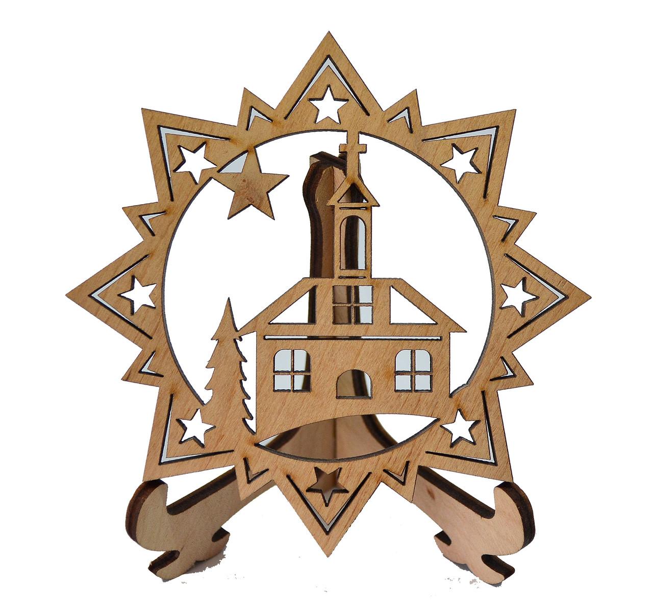 Деревянная новогодняя игрушка заготовка. Церковь в звезде
