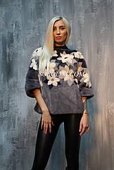 Модный трехцветный норковый джемпер с цветочной инкрустацией